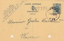 Luttre  , Griffe Linéaire , Cachet  Charleroi ,carte Publicitaire - Poststempel