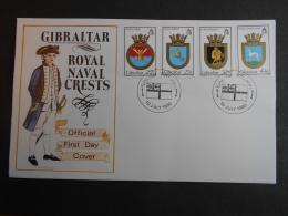 GIBRALTAR SG 0638-641 FDC NAVAL CRESTS 9th SERIES - Gibraltar