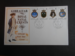 GIBRALTAR SG 0651-654 FDC NAVAL CRESTS 10th SERIES - Gibraltar