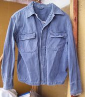 Vintage European Army Or NAVY Workwear Uniform Cotton Blue Jacket - Divise