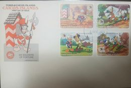 L) 1985 TURKS & CAICO ISLANDS, DISNEY, MICKEY, PLUTO, PATO DONALDS, SIX SOLDIER OF FORTUNE, CARTOON, FDC - Turks And Caicos