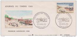 FDC COTE D'IVOIRE 1965 Journée Du Timbre - Courrier Lagunaire 1900 - Costa D'Avorio (1960-...)
