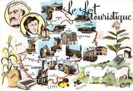 LOT  46  LE LOT TOURISTIQUE   CARTE DESSINEE  VUES MULTIPLES   CACHET CAMP D'ADOLESCENTS VAYRAC - Zonder Classificatie