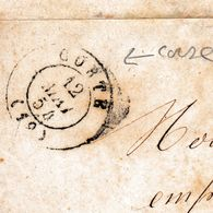 Lettre Corte Corse 1854 Ajaccio - Marcofilie (Brieven)