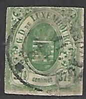 Luxembourg   1859   Sc#11   37 1/2c   Used  2016 Scott Value $200 - 1859-1880 Armoiries