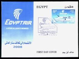 EGYPT / 2008 / EGYPTAIR : A STAR ALLIANCE MEMBER / FDC / VF / 3 SCANS . - Egypt