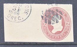 US CUT  SQUARE U  277      (o)   1884-6  ISSUE - Postal Stationery