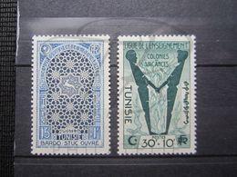 VEND BEAUX TIMBRES DE TUNISIE N° 354 + 355 , X !!! - Tunisie (1888-1955)
