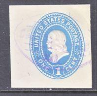 US CUT  SQUARE U  294     (o)   1887-94  ISSUE - Postal Stationery