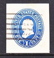 US CUT  SQUARE U  295   DARK  BLUE     (o)   1887-94  ISSUE - Postal Stationery