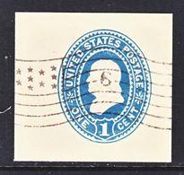 US CUT  SQUARE U  296   AMBER     (o)   1887-94  ISSUE - Postal Stationery