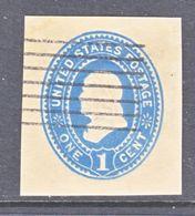 US CUT  SQUARE U  304  AMBER  MANILA     (o)   1887-94  ISSUE - Postal Stationery