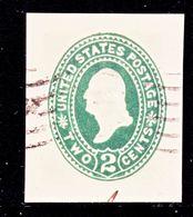 US CUT  SQUARE U  312   AMBER    (o)   1887-94  ISSUE - Postal Stationery