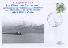 Military Commemorative Cover - Belgium Antwerpen HMS Bellona And SirWinston Churchill Visiting Antwerpen 1945  (T6-44) - Militaria