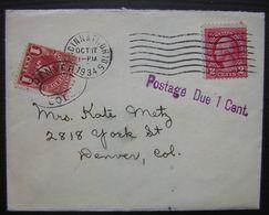 1934 Cincinnati Ohio Postage Due 1 Cent Lettre Avec Taxe Pour Denver Carte D'anniversaire (birthday Card) - Etats-Unis
