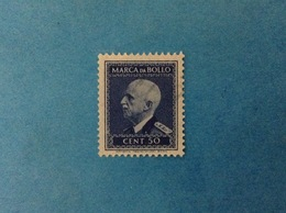 REGNO D'ITALIA VITTORIO EMANUELE III MARCA DA BOLLO DA 50 CENT. SENZA FILIGRANA E FASCI USATA - 1900-44 Vittorio Emanuele III