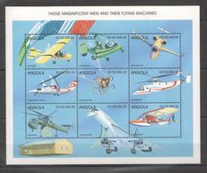 M793 ANGOLA AVIATION THOSE MAGNIFICENT MEN & THEIR FLYING MACHINES 1KB MNH - Airplanes