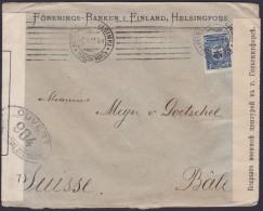 FINNLAND 1917, 2 Zensurbriefe Von HELSINGFORS Nach BASEL, Russische Frankatur - Covers & Documents