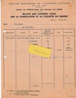 Rationnement Beurre & Crème / 1945 / Caisse De Péréquation / Sce Provisoire Economie Laitière - 1939-45