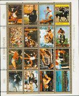 Ajman - Bloc Feuillet De 16 Timbres Oblitérés - J .O . Munich 1972 - Vignettes De Fantaisie
