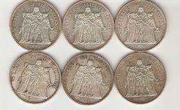 Lot De 6 Pièces En Argent, 10 Francs Dupré, Hercule, 1967 1968 1970, 150 Grammes - K. 10 Franchi