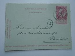 D156859  Belgique - Carte Lettre 1902 - Oblitération Liège Guillemins  á Verviers Ouest - Belgique