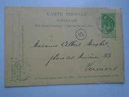 D156865  Belgique - Carte Postale 1907 - Oblitération Liege  Guillemins  á Verviers Ouest - Belgique