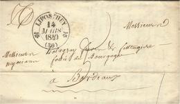 1840- Lettre En Port Du De LIPOSTHEY ( Landes ) Cad T12 Taxe 3 -écrite D'Ichoux - Marcophilie (Lettres)
