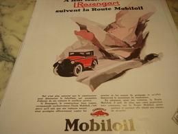 ANCIENNE PUBLICITE HUILE MOTEUR MOBILOIL TOUTES LES ROSENGART 1929 - Publicité