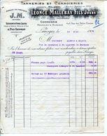 TANNERIE DE CUIRS LISSÉS- LÉONCE MALLEBAY FILS JEUNE- 1904- LIMOGES- - Francia