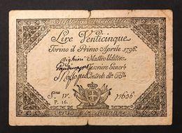 25 Lire Regie Finanze Emissioni Sabaude 01 04 1796 Lotto 453 - Italien