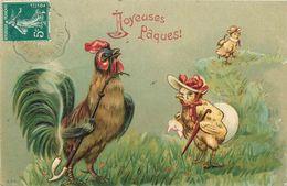 PAQUES Joyeuses Pâques Coq Poussins Belle Gaufrée 2scans - Easter