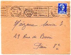 DEUX SEVRES - Dépt N° 79 = BRESSUIRE 1958 (BD 3 Lignes) = FLAMME RBV Illustrée ' CLOCHER / CHATEAU / PISCINE ' - Marcophilie (Lettres)