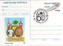 Italia 2017 Annullo Montespertoli Su Cartolina Postale Repiquage 60^ Mostra Del Chianti - Vini E Alcolici