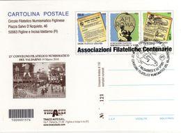 """Italia 2016 Annullo Figline Valdarno (FI) Su Cartolina Postale Repiquage Mostra """"I Valdarnesi E Lo Sport"""" - Francobolli"""