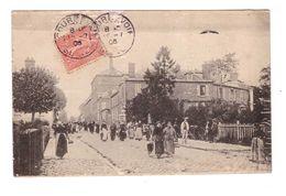 92 Cpa Sans Légende Cachet Courbevoie 1906 Rue Animée , écrite Par Mr Perot Rue De L' Abreuvoir à Courbevoie - Courbevoie
