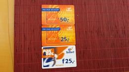 3 Difefrent Value Prepaidcards Telfort  Netherlands  Used - Cartes GSM, Prépayées Et Recharges