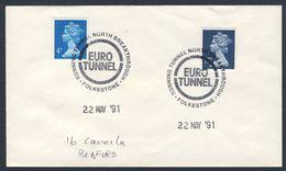 Great Britain 1991 Cover / Brief  / Lettre - EURO TUNNEL - Running Tunnel South Breakthrough - Folkstone - Calais - Treinen