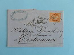 EMPIRE DENTELE 23 SUR LETTRE DE AUBUSSON A CHATEAUROUX DU 19 DECEMBRE 1865 (GROS CHIFFRE 211) - 1849-1876: Classic Period