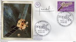 FDC / Premier Jour Sur Soie N° 1887 - Satellite Symphonie Signé Par Le Graveur Dessinateur Jacques Combet - 1970-1979