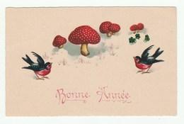 Bonne Année / New Year - CPSM - Champignons / Mushrooms - Oiseaux - Nouvel An