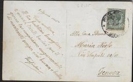 POSTA MILITARE Ia GUERRA - CARTOLINA AUGURI DA 5a DIVISIONE 06.08.1915 (p.2) PER GENOVA - Correo Militar (PM)