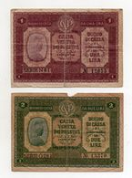 Italia - Cassa Veneta Dei Prestiti - Buono Di Cassa Da 1 Lira E 2 Lire - 2 Gennaio 1918 - (FDC8570) - Buoni Di Cassa