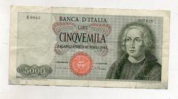 """Italia - Banconota Da Lire 5.000 """" Cristoforo Colombo """" 1 Caravella - Carta Verdina - Decreto 04.01.1968 - (FDC8572) - [ 2] 1946-… : Républic"""