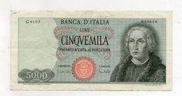 """Italia - Banconota Da Lire 5.000 """" Cristoforo Colombo """" 1 Caravella - Carta Verdina - Decreto 20.01.1970 - (FDC8573) - [ 2] 1946-… : Républic"""