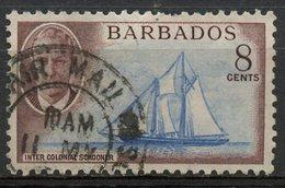 Barbados 1950 8p Schooner Issue  #221 - Barbados (1966-...)