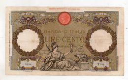 Italia - Regno - Banconota Da Lire 100 - CAPRANESI - Aquila Romana - Testina - Fascio - Decreto 20.02.1939 - (FDC8575) - [ 1] …-1946 : Kingdom