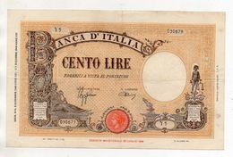 Italia - Regno - Banconota Da Lire 100 - BARBETTI - TESTINA - Fascio - Azzolini-Urbini - Decreto 09.12.1942 - (FDC8576) - [ 1] …-1946 : Kingdom