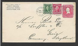 1908  CASCHETTE COVER  POSTED FROM  MILWAUKEE  USA   TO  GERMANY - United States