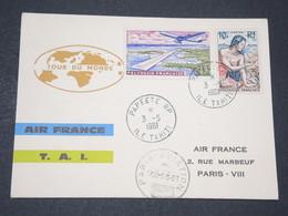 """POLYNÉSIE - Carte """" Tour Du Monde """" De Paris Pour Papeete / Papeete Pour Paris En 1961 - L 14230 - Briefe U. Dokumente"""